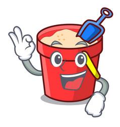 Okay sand bucket character cartoon vector