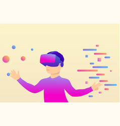 person in virtual reality glasses moves objects vector image