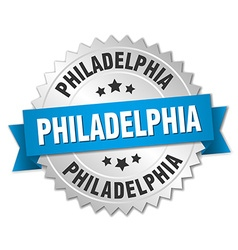 Philadelphia round silver badge with blue ribbon vector