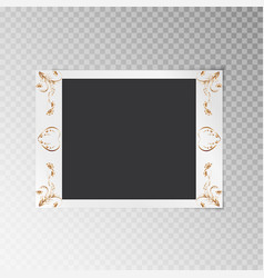 photo frame with gold floral pattern vector image