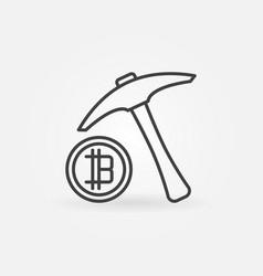 pickaxe with bitcoin icon minimal vector image