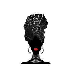 Portrait african woman traditional turban vector