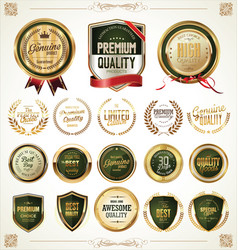 quality gold and green badges and labels vector image