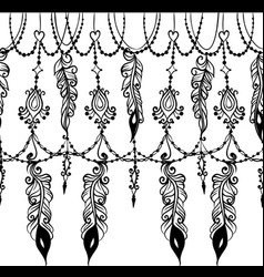 Seamless border with chains and feathers vector