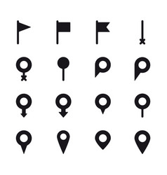 set different location mark symbols map vector image