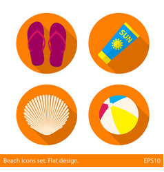set of colored beach icons summer vacation flat vector image