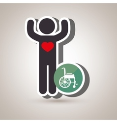Silhouette person heart wheelchair vector