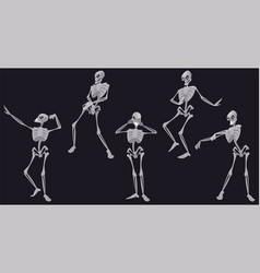 skeletons dance funny halloween dead characters vector image