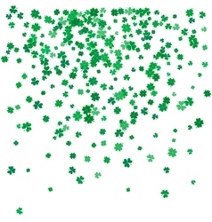 St Patricks day background with flying clovers vector image