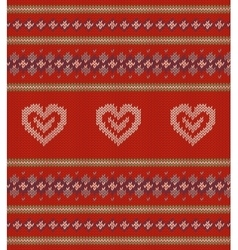 Striped pattern with white hearts on red vector image