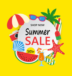 summer sale banner with colorful beach elements vector image