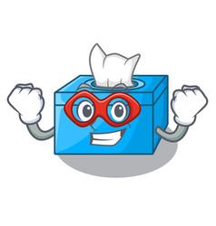 Super hero cartoon tissue box in the restaurant vector
