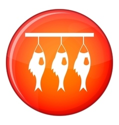 Three dried fish hanging on a rope icon vector