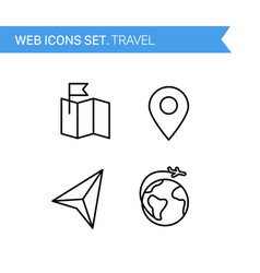 Travel thin line icons set vector