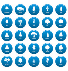 Tree icons set blue simple style vector