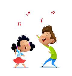 Two dancing kids vector