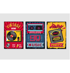vintage backgrounds collection music poster sets vector image