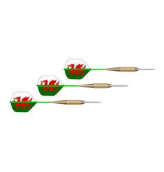 welsh dragon flag dart set vector image
