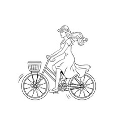 young woman ride on bicycle coloring vector image