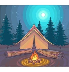 Camping or Hiking outdoor recreation adventures vector image vector image