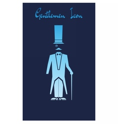 Gentlemen Icon with a cartoon character vector image