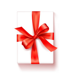 gift box white box with a red satin bow bright vector image