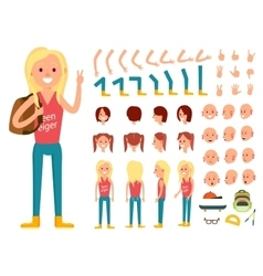 Teenager female person character creation set vector image