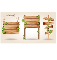 Wooden signs with green leaves decorative elements vector image vector image