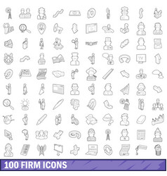 100 firm icons set outline style vector image vector image