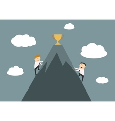 Businessmen climbing to the top of success vector image vector image