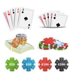 casino design elements poker cards chips vector image