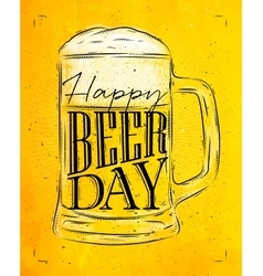 Poster beer day yellow vector image vector image