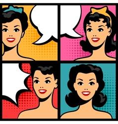 retro girls in pop art style vector image vector image