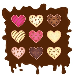 set heart on chocolate background vector image
