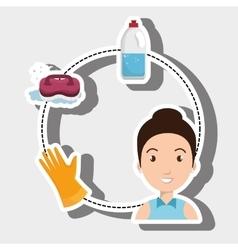 Woman washing clothes hang gloves vector