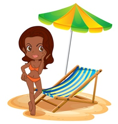 A tan lady at the beach vector image vector image