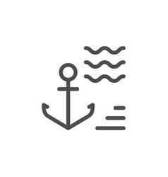 anchor line icon vector image vector image
