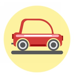 Digital red car icon on yellow circle vector image vector image
