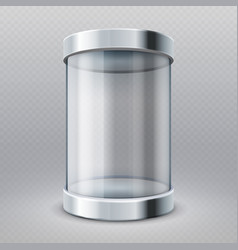 empty transparent glass cylinder 3d showcase vector image