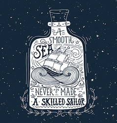 Hand drawn vintage label with a ship in a bottle vector image vector image