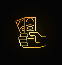 money in hand golden icon vector image vector image