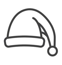 santa hat line icon new year and christmas xmas vector image vector image