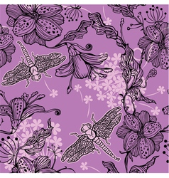 Seamless Floral Pattern With hand-drawn flowers an vector image vector image