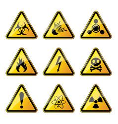 set of warning danger signs vector image