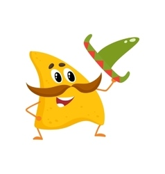 Smiling nachos with thick moustache and Mexican vector image vector image