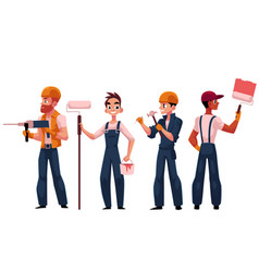 team of construction workers builders painters vector image