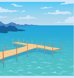 tropical ocean landscape with wooden dock vector image vector image