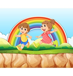 Boy and girl running on the cliff vector image vector image