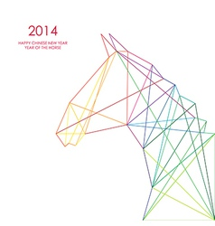 Chinese new year of the Horse triangle lines vector image vector image