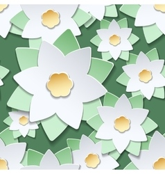 Paper cut flowers japanese style pattern vector image vector image